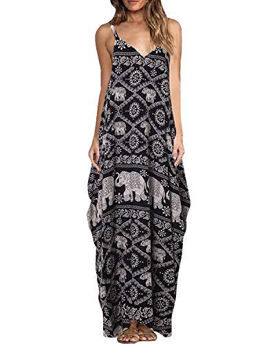 ZANZEA Women's Boho Floral Print V Neck Spaghetti Strap Long Maxi Dress Sundress Elephant 3XL