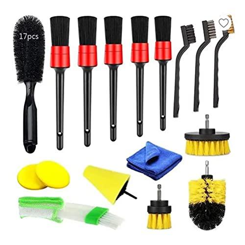 BSTQC 17 piezas de taladro y cepillo de limpieza para coche, incluye cepillo de purga de aire, cepillo de mango corto, 5 piezas de cepillo de cerdas de jabalí para pulir