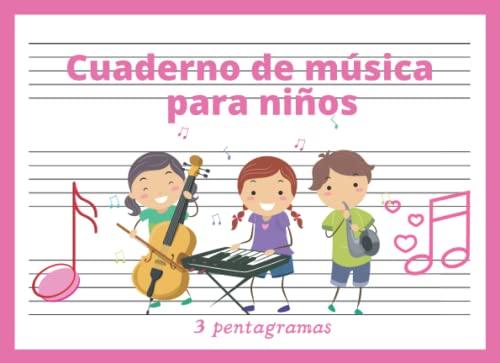 Cuaderno de Música 3 pentagramas: Libreta para notación musical para niños, papel pautado, 3 pentagramas por página, pentagrama grande, pauta ancha, A5+ apaisado, 60 páginas