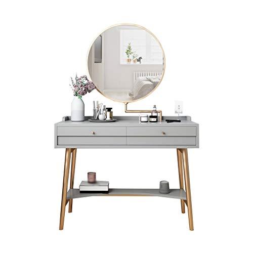 Tocador de Dormitorio Tocador Mesa de preparación de espejo giratorio de 360 grados, mesa de preparación de maquillaje, adecuada para el dormitorio, el proceso de chapado en oro de acero inoxidable