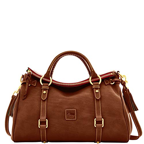 """15"""" W x 9-1/2"""" H x 6-1/2"""" D Interior features lining, zip pocket, snap-tab pocket and 2 open pockets Embossed leather logo patch; gold-tone hardware Double handles with 4-1/2"""" drop; detachable adjustable strap with 18"""" drop"""