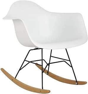 Hodedah Mid Century Modern, Molded Rocking Bucket Chair, White