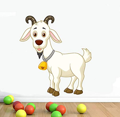 Yiiuii Etiqueta De La Pared De Dibujos Animados De Animales De Cabra Blanca Campana Collar De Pvc Diy Impermeable Decoración Del Hogar Sala De La Casa De Vinilo Decal Art