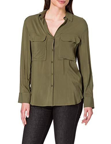 United Colors of Benetton Camicia 5SF05QBN3 Camisa, Verde Militar 35a, S para Mujer