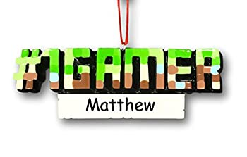 Personalized Video Gamer Christmas Ornament - #1 Gamer Pixel PC Game Hobby Lover - Custom Name or Gamer Tag