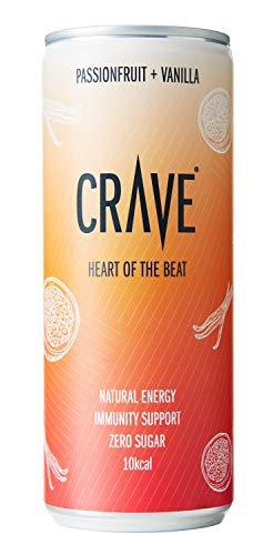 CRAVE Drinks Natural Energy Drink, Vegan, Gluten Free, Sugar Free, (PASSIONFRUIT and Vanilla) - 250ML (12 x 250ml)