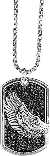 Yiffshunl Collar con Forma de Escudo de ala, Collar con Colgante de Hip Hop, Cadena Militar, joyería para Hombre