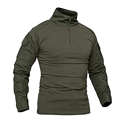 CRYSULLY Men's Summer 1/4 Zip Hiking Shirt Rapid Military Long Sleeve Shirt Tactical Climbing Shirts Army Green