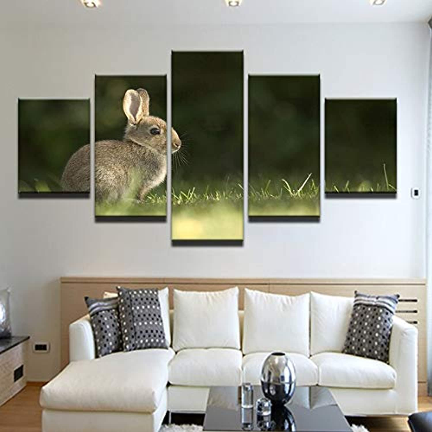 3967e3044950 Rabbit On The Grass Canvas Painting 5 5 5 Pieces Wall Art Home Decor ...