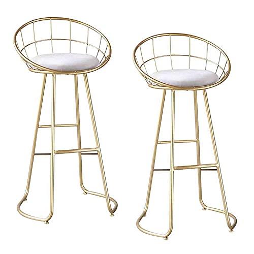 Taburete de Bar Sillas de Cocina Juego de 2 taburetes de Bar para Desayuno, sillas de Cocina con Isla, Taburete de Bar Acolchado Suave de Terciopelo Redondo, reposapiés de Metal, 65 cm