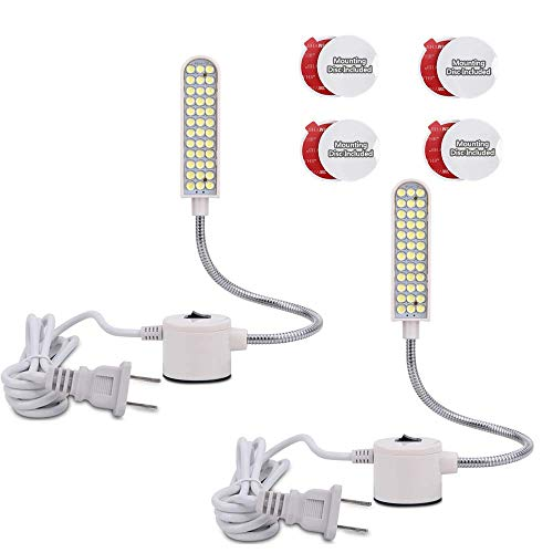 Sewing Machine Light (36LEDs) 8Watt Gooseneck Work Light with Magnetic Mounting Base, White Soft Light for Lathes, Drill Presses, Workbenches (2PACK)