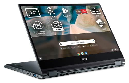 "Acer Chromebook Spin 514 - Ordenador Portátil 2 en 1 Convertible y Tactil 14"" Full HD, Laptop (AMD Ryzen 3 3250C, 8GB RAM, 128GB SSD, UMA Graphics, Chrome OS), PC Portátil Plata - Teclado QWERTY"