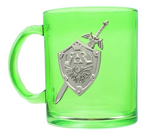Legend of Zelda Hylian Shield Green Glass Mug — 16 ounces