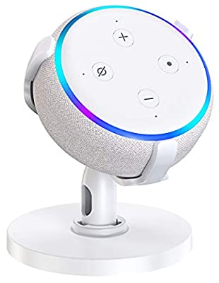 Bovon Table Holder for Echo Dot 3rd Generation, 360° Adjustable Stand Bracket Mount for Smart Home Speaker, Improves Sound Visibility and Appearance, Dot Accessories(White) by Bovon