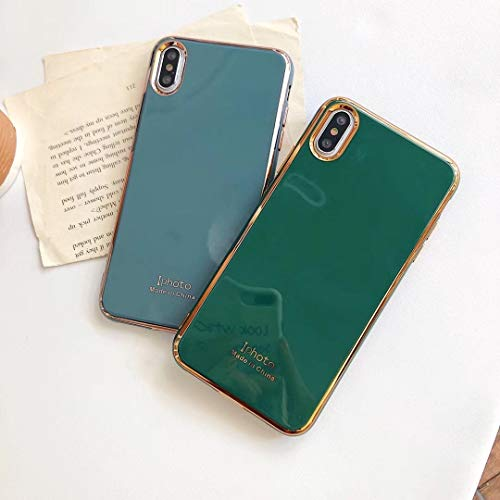 YABAISHI Emeralda Emeralda Electroplating iPhone11Pro MAX Mobile Phone Case Apple 7 / 8plus All-Inclusive Anti-Fall XR Hombres y Mujeres (Color : Emerald, Size : Apple 11)
