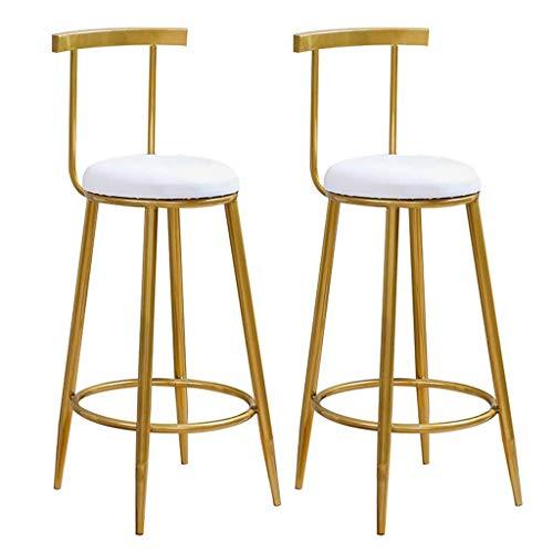 WWW-DENG barkruk 2 barkrukken keuken eetkamerstoel rond metaal retro design teller kruk onderrug wit kunstleer beklede zitstoel barkruk barkruk