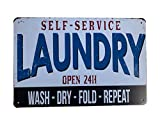 Grace Home Laundry Room Wall Plaque Rustic Metal Tin Sign Posters Laundry Room Rules Tin Sign Wall Decor, Funny House Decor Retro Poster Metal Tin Sign, Iron Paint, Aluminum Sign 12X8-Inch