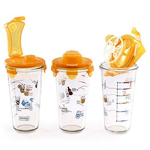 GlassFood - Pack 3 Einheiten Cocktail Shakern / Mischer Hergestellt aus Glasslock Glas SHAKER 450ml, Orange Farbe