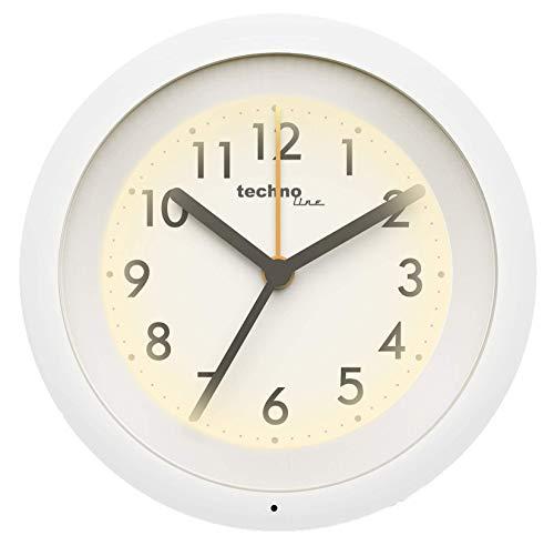 hochwertiger Quarz-Wecker mit automatischem Nachtlicht, schleichender Sekunde, Anti-Rutsch-Fuß, weiß, 113 x 35 x 113 mm