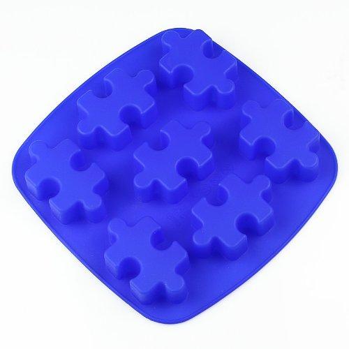 Zeagro 7-Cavities Puzzles Molde de silicona para tartas, molde hecho a mano, 1 unidad de color aleatorio