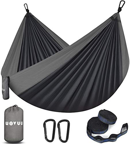WOVUU Camping Hammock Double Outdoor Travel Portable 2 Person Hammock,Durable Lightweight Parachute Nylon Hammocks with Tree Straps,Carabiners for...