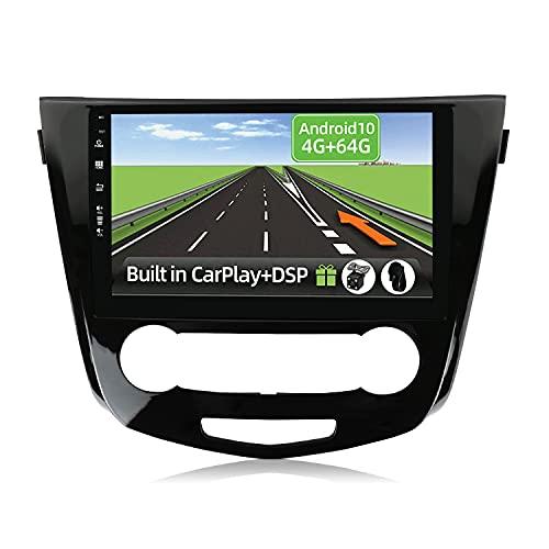 YUNTX Android 10 2 Din Autoradio per Nissan X-Trail Qashqai j11 Rouge(2014-2018)-4G+64G-[Integrato CarPlay/Android auto/DSP]- Gratuiti 4-LED Camera -Supporto DAB/Controllo del Volante/360 Camera