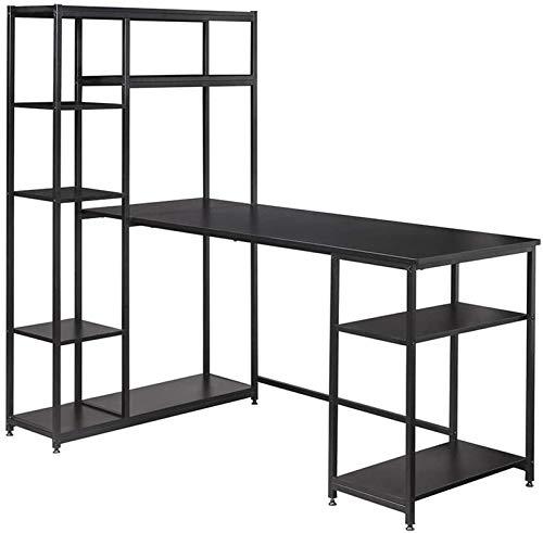 Caja de Almacenamiento de Jardín, Escritorio de computadora de metal negro con estanterías de almacenamiento de múltiples niveles para el hogar y la oficina, la estación de trabajo de la escritorio de