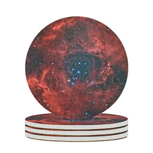 Knowikonwn Posavasos de cerámica de primera clase, personalizados, de cerámica, para salón, universo, blanco, 6 unidades