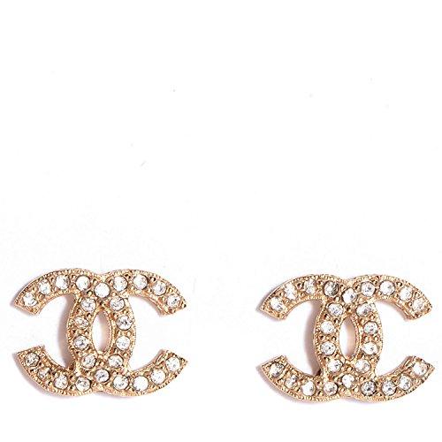 Carolina Meyer Doppel CC Ohrringe Cubic Zircons kristall Ohrringe -Rose Gold überzogen Schmuck Geschenk fur damen Ohrringe (Produktcode 202-CC) Zirkonia, für Frauen, Mädchen