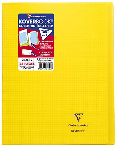 Clairefontaine 984606C Un Cahier Agrafé Koverbook Jaune - 24x32 cm - 48 Pages Petits Carreaux avec Marge - Papier Blanc 90 g - Couverture Polypro