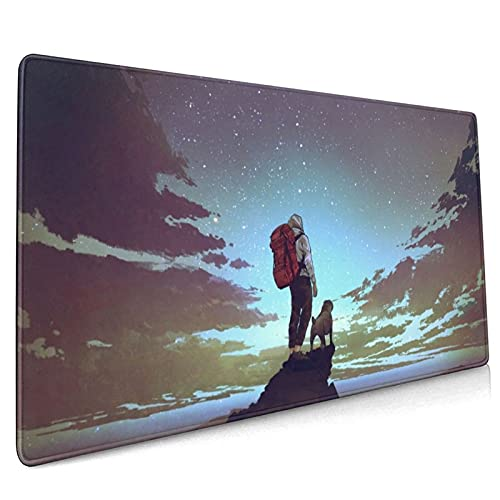Young Hiker and Dog Looking at The Sky Large Gaming Mouse Pad Gaming Pad 900x400mm Dimensions with Non-Slip Rubber