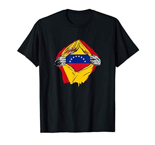 Super Bandera Venezuela y España Descendiente de Venezolano Camiseta