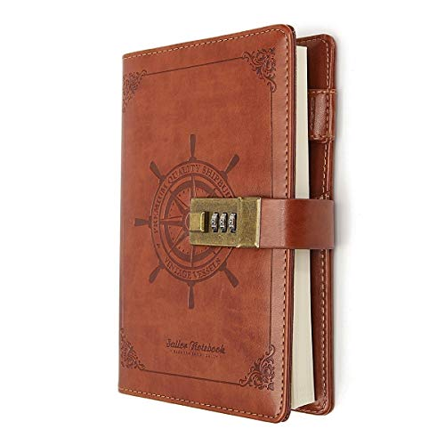 B6 Journal Vintage Brown Rudder Leather Journal Diary Notebook Three-Digit Password Combination Lock Creative Stationery (Brown)