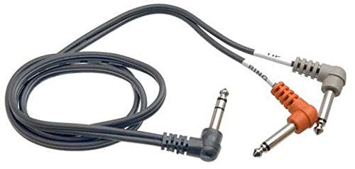 """Hosa STP-201RR Right Angle 1/4"""" TRS to Dual Right Angle 1/4"""" TS Insert Cable, 1 Meter"""