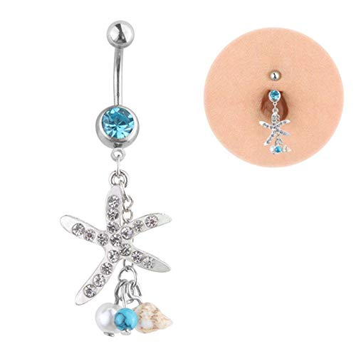 Davitu 1Pc Sexy Dangle Belly Bars Button Rings Belly Piercing Navel Piercing Rings Crystal Starfish Conch Body Jewelry