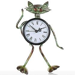 DONGLU Small Cat Desk Clock Handmade Vintage Metal Cat Figurine Decorative Table Animal Clock