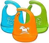 Dream Loom Baberos Bebé,Impermeable Infantil Baberos, Baberos de silicona para recién nacidos Niños pequeños, Fácilmente limpia,Juego de 3 colores (3pcs)
