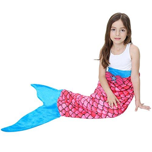 X-Labor Kinder Meerjungfrau Decke Fleece Kuscheldecke Mermaid Kostüm Flauschige Deckel Mädchen Geburtstagsgeschenk Motiv-A