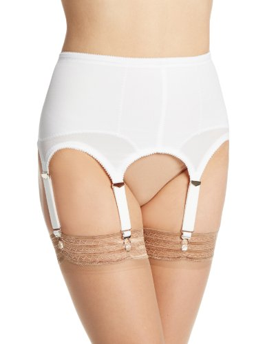 Rago Women's Plus-Size Six Strap Shaper Garter Belt (X), White, 3X-Large (36)