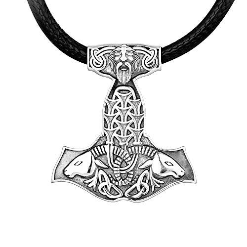 JO WISDOM Wikinger Thors Hammer Halskette Mjölnir Anhänger Kette Silber 925 für Herren