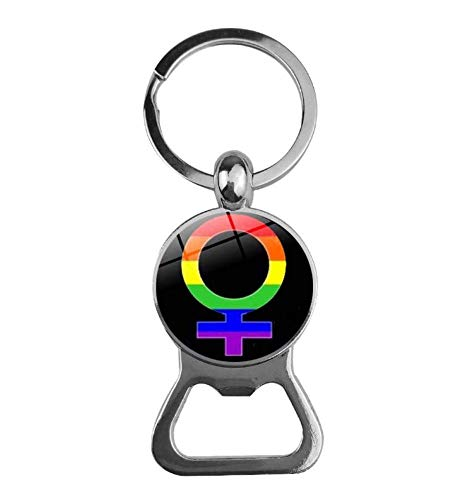 keyjiang sleutelhanger decoratie pride rainbow bier flesopener glas cabochon sleutelhanger modesieraad O