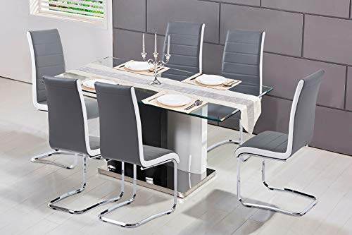 Set of 6 Cantilever Dining Chairs Modern Artificial Leather Grey White Black, Grey White Side Chrome