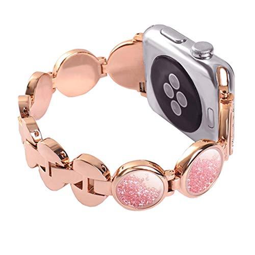 Pulsera de arena con gemas Banda de acero inoxidable para Apple Watch 3 2 1 42 mm 38 mm Correa de diamante para iwatch Series 4 5 6 SE 40 mm 44 mm