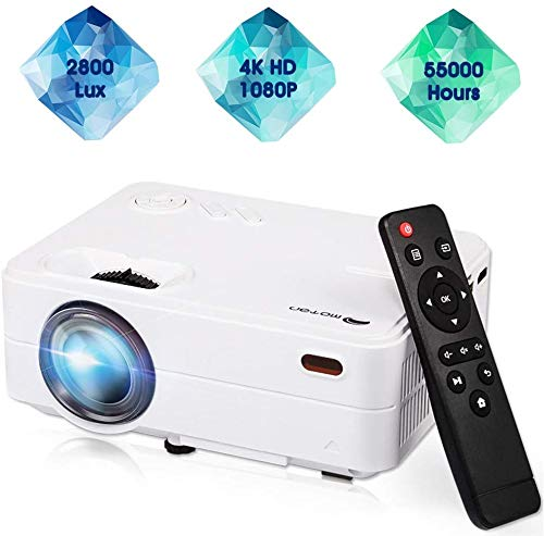 """Mini Projector,Movie Portable Projector,Smartphone Video Projector 1080P Supported 200"""" Display,55,000 Hrs Led Projector Compatible with Laptop/HDMI/USB for Home Entertainment"""