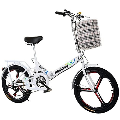 DKBE Bicicleta Plegable, Bicicleta Plegable portátil con Amortiguador de Impacto de Velocidad Variable de 20 Pulgadas, Estudiantes Adultos Masculinos y Femeninos y niños, Correa de Velocidad Variable
