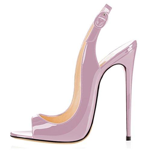 elashe Damen Knöchelriemchen Lackleder Pumps | Peep Toe Stiletto 12CM Sandalen | Slingback Hochzeit Schuhe Lavendel EU40
