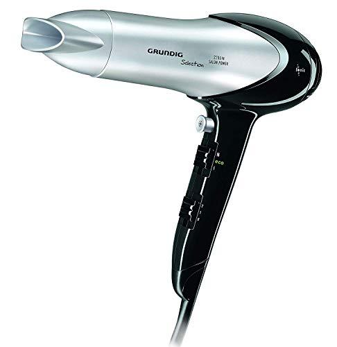 Grundig HD 6080 - Secador de pelo con tecnología iónica (2200 W, 2 velocidades, 3 temperaturas), color negro y plateado