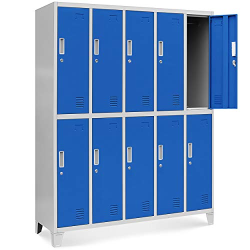 Schließfachschrank 5B2A Umkleideschrank WertfachschrankMetallspind Umkleideschrank mit 10 Fächern Stahlblechkonstruktion Pulverbeschichtet 172 cm x 136 cm x 45 cm (H x B x T) (grau/blau)