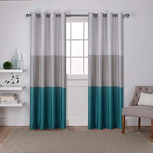 Exclusive Home Curtains Chateau Striped Faux Silk Grommet Top Curtain Panel Pair, 54x84, Teal, 2 Count