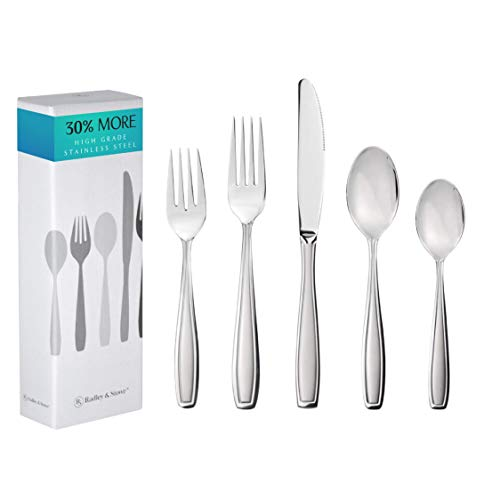 Radley & Stowe 20-Piece Flatware Solid Stainless Steel Silverware Set (Designer Grade with Matte Finish Handle)